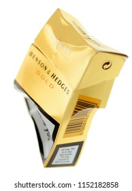 London, England - May 05, 2014: Crushed Packet of Benson & Hedges Cigarettes, Founded in London in 1873 by Richard Benson and William Hedges