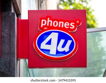 London, England - May 05, 2014: Phones 4u Mobile Phone Shop Sign, Phones 4u was founded in 1996 and ceased trading on 14th September 2014.