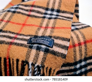 London, England - May 05, 2014: Burberrys Scarf, Burberrys was founded in 1856 by Thomas Burberry
