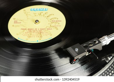 LONDON, ENGLAND - MAY 08, 2019: Vintage vinyl record with Bronze label played on the turntable with audiophile Ortofon cartridge.