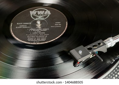 LONDON, ENGLAND - MAY 08, 2019: Vintage vinyl record with WWA label played on the turntable with audiophile Ortofon cartridge.