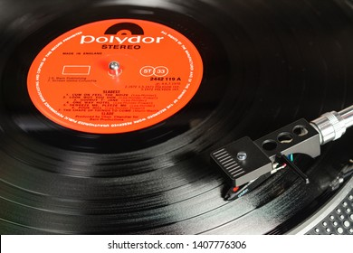 LONDON, ENGLAND - MAY 08, 2019: Vintage vinyl record with Polydor label played on the turntable with audiophile Ortofon cartridge.