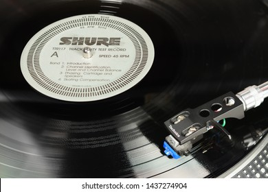 LONDON, ENGLAND - MAY 08, 2019: Vintage vinyl record with EMI Harvest label played on the Technics turntable with audiophile Shure cartridge.