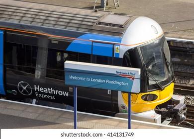 London, England - May 1, 2016: A Heathrow Express Class 332 electric passenger train at London's Paddington Station.