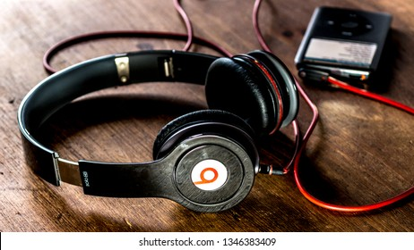 London, England - May 10, 2014: Beats Headphones by Dr Dre, Beats Electronics LLC is part of Apple Inc and produces audio equipment.