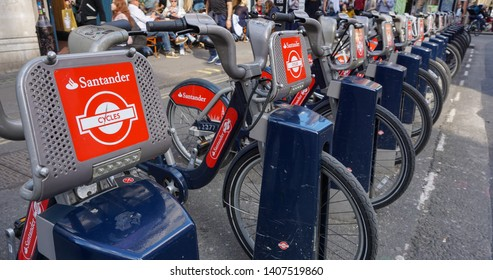 London, England - May 12 2019 - A row of Santander Cycles, bikes that are able to be rented and used throughout London.