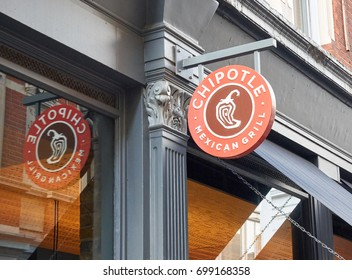 LONDON, ENGLAND - MAY 13, 2017 : Chipotle Mexican Grill signage. The company is an American chain of fast casual restaurants in the United States, United Kingdom, Canada, Germany, and France