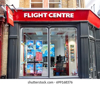 LONDON, ENGLAND - MAY 13, 2017 : Flight Centre office and storefront. Flight Centre is a large and reputable travel agency