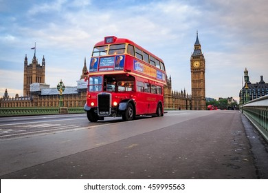 LONDON, ENGLAND - May 14, 2016: Red Vintage bus and Big Ben in London.