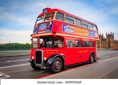 LONDON, ENGLAND - May 14, 2016: Red Vintage bus  in London.