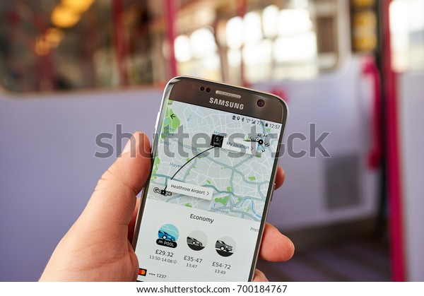 LONDON, ENGLAND - MAY 14, 2017 : Uber application on Samsung S7. Uber Technologies Inc. is an American technology company headquartered in San Francisco, California, United States