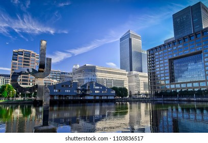 LONDON, ENGLAND - MAY 16, 2018:  Business building and skyscraper in Canary Wharf, London, England, Great Britain
