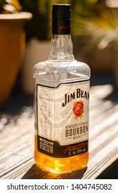 London, England - May 16, 2019: Opened Bottle of Jim Beam Bourbon Whiskey, Jim Beam is made by Beam Suntory in Kentucky, United States since 1795.