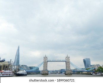London, England May 17 2019: Panoramic view of London from the center of the Thames river
