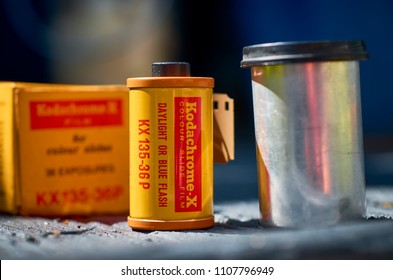London, England - May 19, 2018: Kodak Kodachrome 35mm Transparency Film, It was first introduced in 1935 and became very popular with professional photographers for its rich colours.