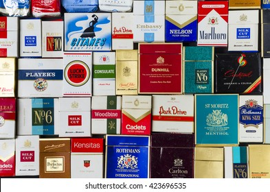 London, England - May 20, 2016: Packets of Various Old Cigarette Boxes from the 1970's