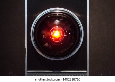 LONDON, ENGLAND - MAY 2019: The original prop of the HAL 9000 from the Stanley Kubrick adaptation of 2001 A Space Odyssey. It is on display along with other pieces at the Design Museum in Kensington.
