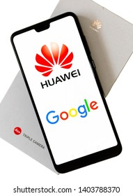 London, England - May 21, 2019: Huawei Mobile Cell Phone using Google apps, Huawei was founded in 1987 in Shenzhen, China