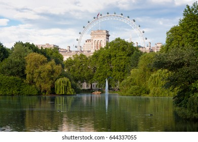 London, England. May 22, 2014. St. James's Park is the oldest of the Royal Parks of London located in the City of Westminster. In the background, the London Eye.
