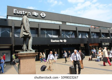 London, England, May 24th 2018: Passengers outside Euston railway station in London