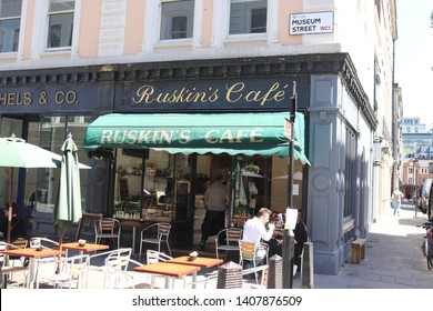 London, England, May 25th 2019: Ruskin's Cafe on Museum Street in Bloomsbury