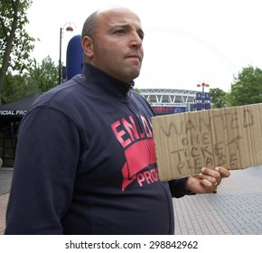 LONDON, ENGLAND. May 28 2011:   A fan without a ticket for the 2011UEFA Champions League final between Manchester United and FC Barcelona, at Wembley Stadium