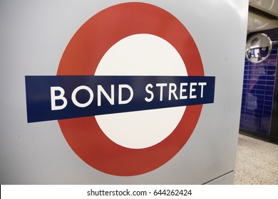 LONDON, ENGLAND - MAY 3: Detail of London Bond Street Tube sign on the wall on May 2,2017