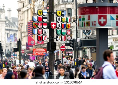 LONDON, ENGLAND - MAY 30: People walkin in centre of city on May 30, 2018 in London