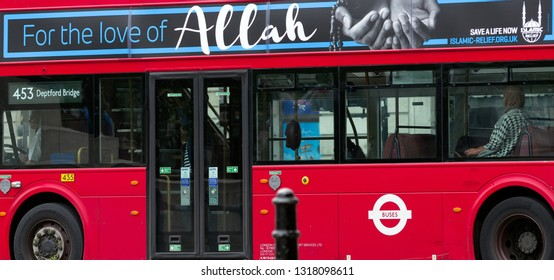 LONDON, ENGLAND - MAY 30: Red double decker with Allah advertising on May 30, 2018 in London