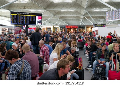 LONDON, ENGLAND - MAY 31: Departure hall full of people after canceled flights at airport Stansted on May 31, 2018 in London