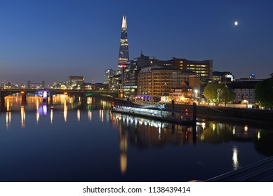 London, England, May, 7th, 2018. View of the Bankside area of the Thames as seen from the Millennium Bridge. The Shard, Bankside pier and Southwark bridge are key landmarks seen from here as well.