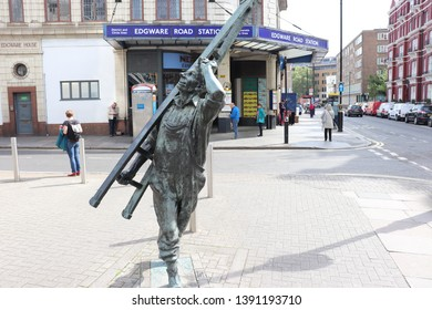 London, England, May 7th 2019: The Window Cleaner statue by Allan Sly in London
