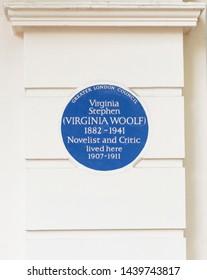 London, England - May 8 2015; Virginia Woolf / Virginia Stephen Blue Plaque