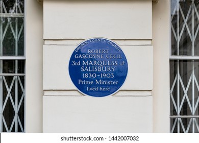 London, England - May 8 2018; ROBERT GASCOYNE CECIL 3rd MARQUESS of SALISBURY blue Plaque
