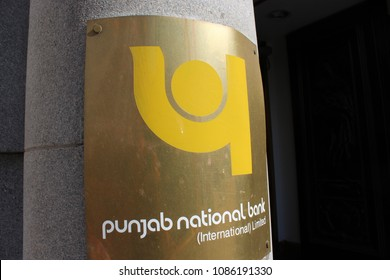 London, England, May 8th 2018: Punjab National Bank sign outside the bank in the City of London