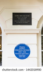 London, England - May 8th 2018: Virginia Woolf Blue Plaque & George Bernard Shaw plaque