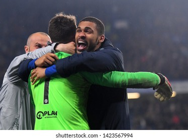 LONDON, ENGLAND - MAY 9, 2019: Ruben Loftus-Cheek hugs Kepa Arrizabalaga after the second leg of the 2018/19 UEFA Europa League semi-finals between Chelsea and Eintracht Frankfurt.