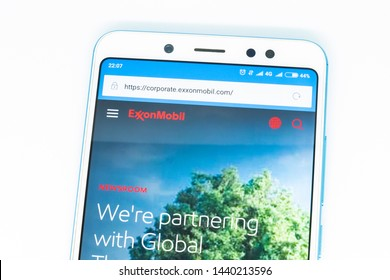 London, ENGLAND - may 9, 2019: Logo of exxonmobil com website displayed on the screen of the mobile device. exxonmobil logo visible on display of modern smartphone on white background
