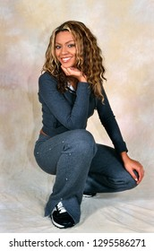 LONDON, ENGLAND - NOV 18, 2000: Beyonce Knowles singer of Destiny's Child during a photoshoot in London. Original photo is a slide.