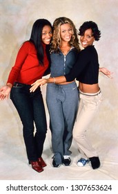 LONDON, ENGLAND - NOV 18, 2000: Michelle Williams, Beyonce Knowles and Kelly Rowland singers of Destiny's Child during a photoshoot in London. Original photo is a slide.