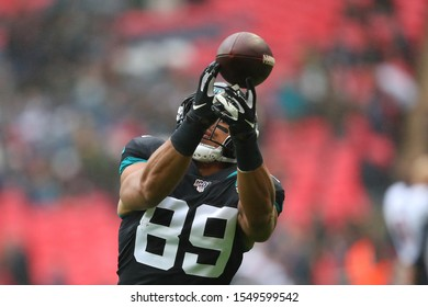 LONDON, ENGLAND - NOVEMBER 03 2019: Jacksonville Jaguars tight end, Josh Oliver (89) during the NFL game between Houston Texans and Jacksonville Jaguars at Wembley Stadium