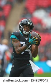 LONDON, ENGLAND - NOVEMBER 03 2019: Jacksonville Jaguars wide receiver, Keelan Cole (84) during the NFL game between Houston Texans and Jacksonville Jaguars at Wembley Stadium