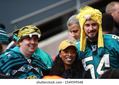 LONDON, ENGLAND - NOVEMBER 03 2019: Jaguars fans during the NFL game between Houston Texans and Jacksonville Jaguars at Wembley Stadium