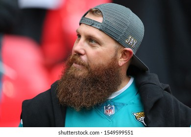 LONDON, ENGLAND - NOVEMBER 03 2019: A  bearded Jaguar fan during the NFL game between Houston Texans and Jacksonville Jaguars at Wembley Stadium