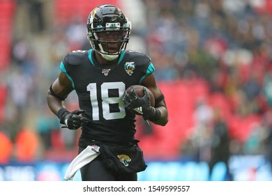 LONDON, ENGLAND - NOVEMBER 03 2019: Jacksonville Jaguars wide receiver, Chris Conley (18) during the NFL game between Houston Texans and Jacksonville Jaguars at Wembley Stadium