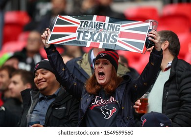 LONDON, ENGLAND - NOVEMBER 03 2019: Texans fans during the NFL game between Houston Texans and Jacksonville Jaguars at Wembley Stadium