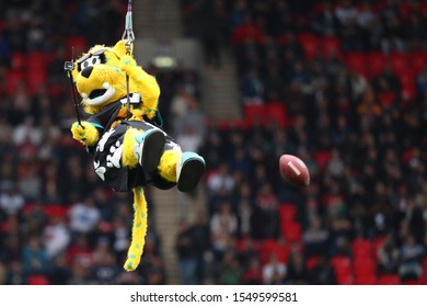 LONDON, ENGLAND - NOVEMBER 03 2019: Jaguars mascot during the NFL game between Houston Texans and Jacksonville Jaguars at Wembley Stadium