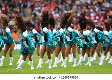 LONDON, ENGLAND - NOVEMBER 03 2019: Jaguars cheerleaders perform during the NFL game between Houston Texans and Jacksonville Jaguars at Wembley Stadium