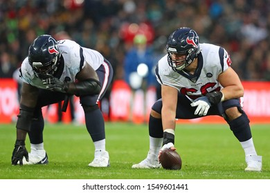 LONDON, ENGLAND - NOVEMBER 03 2019: Houston Texan's center, Nick Martin (66) during the NFL game between Houston Texans and Jacksonville Jaguars at Wembley Stadium
