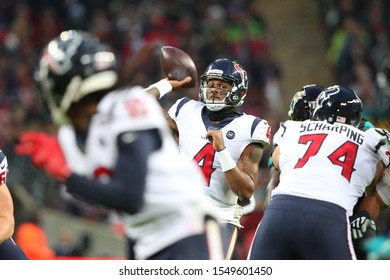 LONDON, ENGLAND - NOVEMBER 03 2019: Houston Texan's quarterback, Deshaun Watson (4) throws the ball during the NFL game between Houston Texans and Jacksonville Jaguars at Wembley Stadium